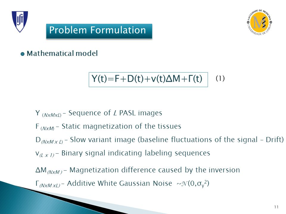 11 Problem Formulation Mathematical model Y(t)=F+D(t)+v(t)ΔM+Γ(t) Y (NxMxL) – Sequence of L PASL images F (NxM) – Static magnetization of the tissues D (NxM x L) – Slow variant image (baseline fluctuations of the signal – Drift) v (L x 1) - Binary signal indicating labeling sequences ΔM (NxM ) - Magnetization difference caused by the inversion Γ (NxM xL) – Additive White Gaussian Noise ~ N (0,σ y 2 ) (1)