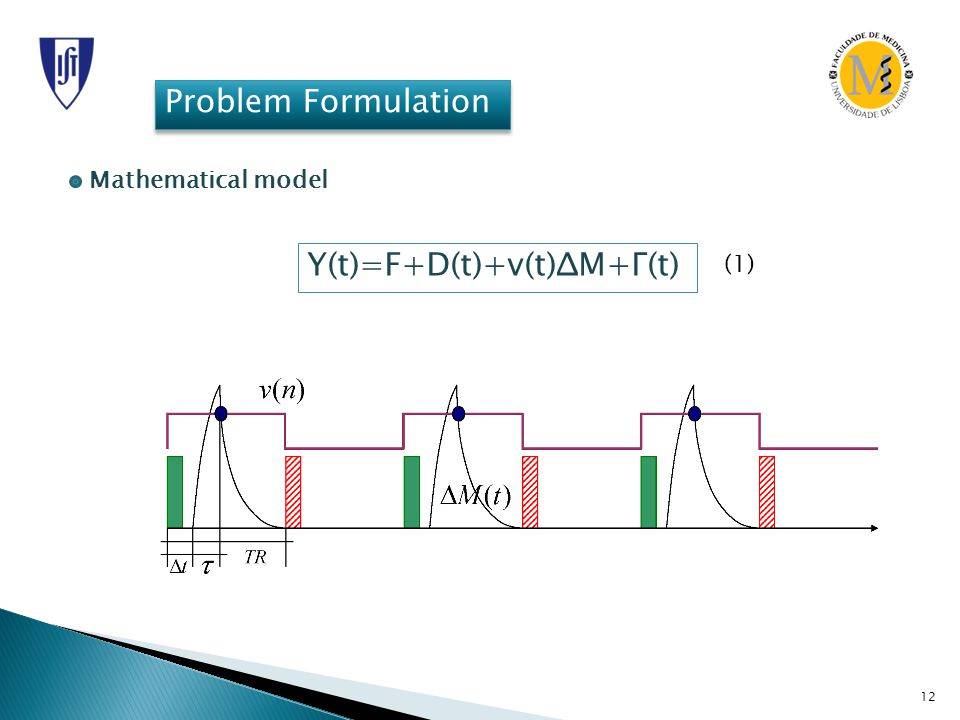 12 Problem Formulation Mathematical model Y(t)=F+D(t)+v(t)ΔM+Γ(t) (1)