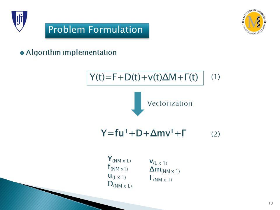 13 Problem Formulation Algorithm implementation Y(t)=F+D(t)+v(t)ΔM+Γ(t) (1) Vectorization Y=fu T +D+Δmv T +Γ Y (NM x L) f (NM x1) u (L x 1) D (NM x L)