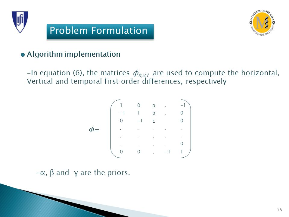 18 Problem Formulation Algorithm implementation -In equation (6), the matrices φ h,v,t are used to compute the horizontal, Vertical and temporal first order differences, respectively 10 0.