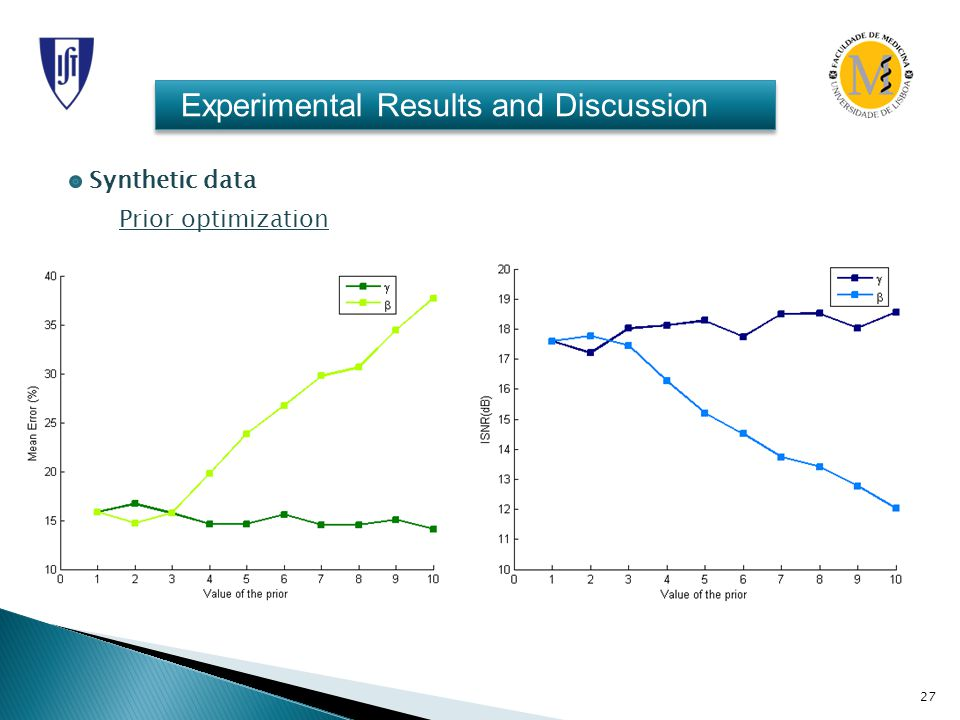 27 Experimental Results and Discussion Synthetic data Prior optimization
