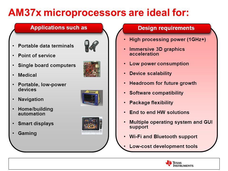 AM37x microprocessors are ideal for: High processing power (1GHz+) Immersive 3D graphics acceleration Low power consumption Device scalability Headroo