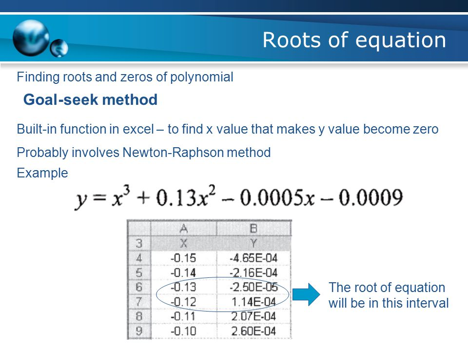 Roots of equation Finding roots and zeros of polynomial Interval-halving method 1.Cell A3 and C3 are starting point of x1 and x2, cell B3 and D3 are t