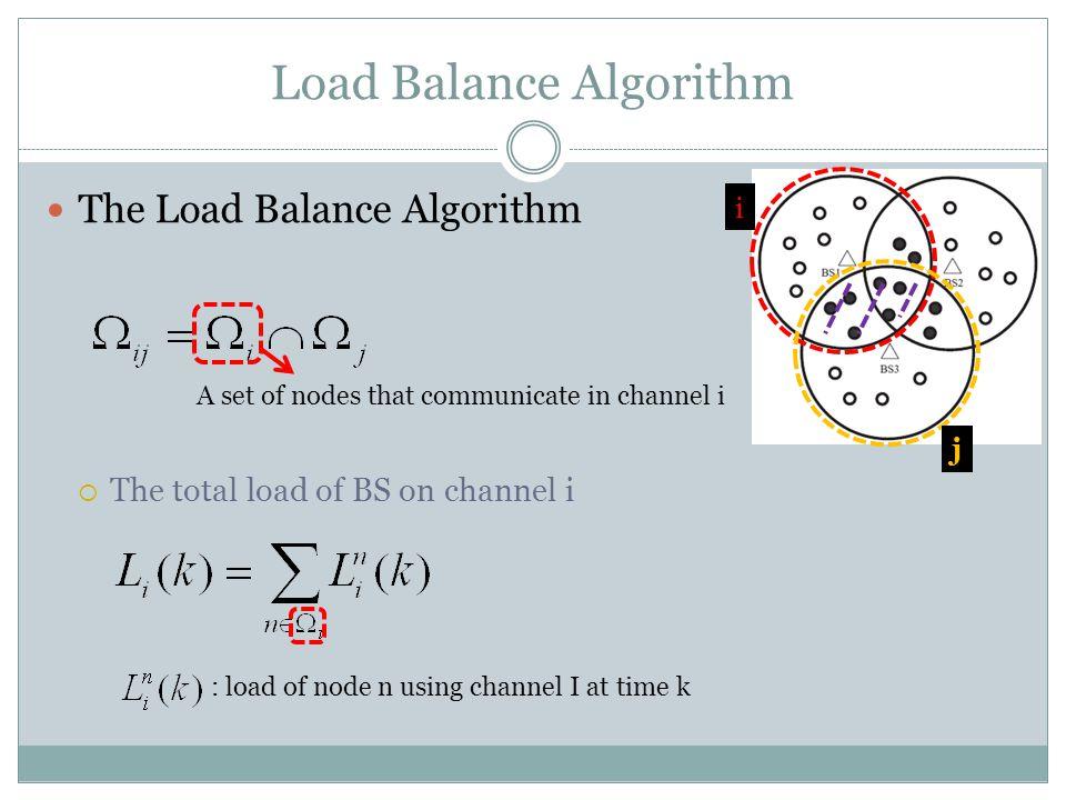 Load Balance Algorithm The Load Balance Algorithm  The total load of BS on channel i A set of nodes that communicate in channel i : load of node n using channel I at time k i j