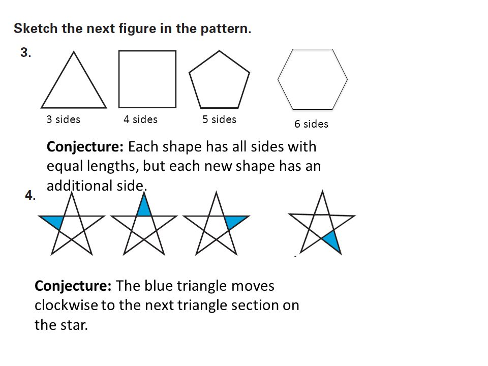 Conjecture: Each shape has all sides with equal lengths, but each new shape has an additional side.