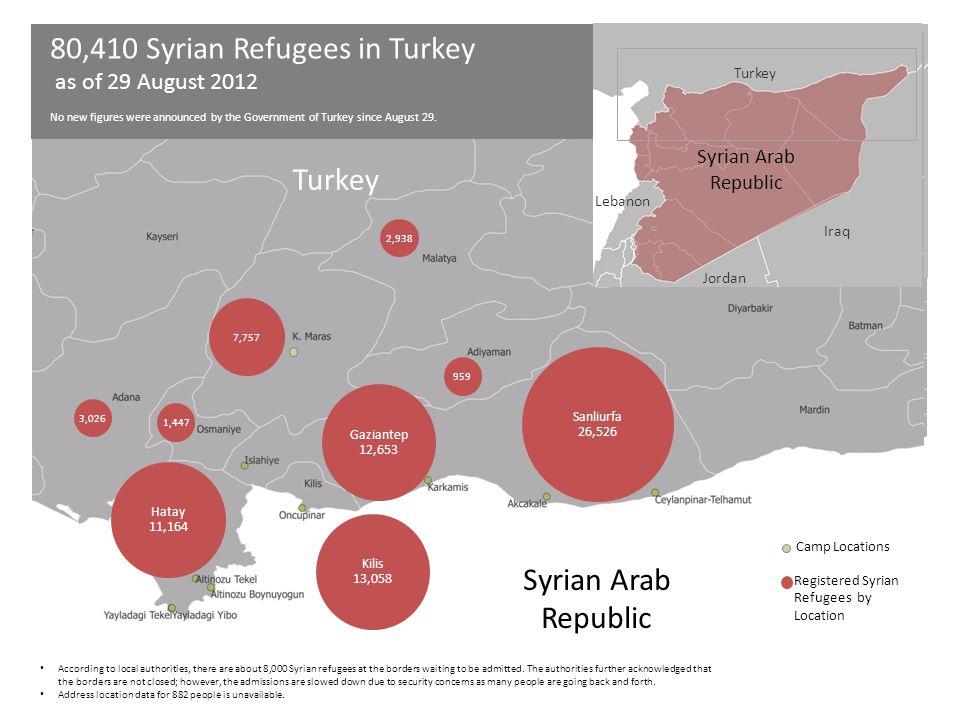 Hatay 11,164 Gaziantep 12,653 Kilis 13,058 Sanliurfa 26,526 2,938 3,026 1,447 959 Turkey Syrian Arab Republic Iraq Jordan Lebanon 7,757 Camp Locations