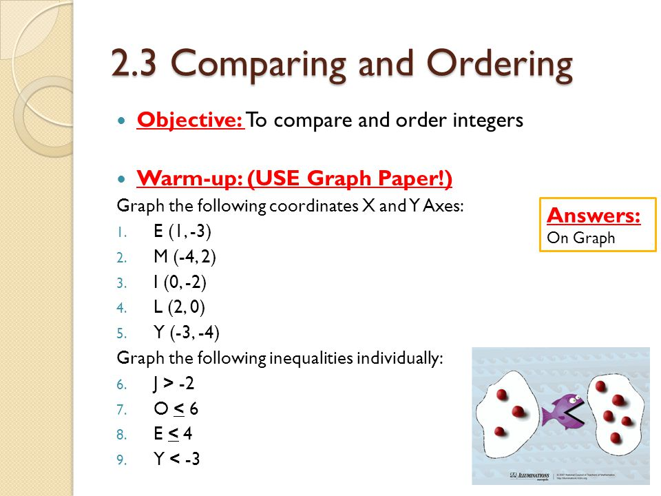 2.3 Comparing and Ordering Objective: To compare and order integers Warm-up: (USE Graph Paper!) Graph the following coordinates X and Y Axes: 1.