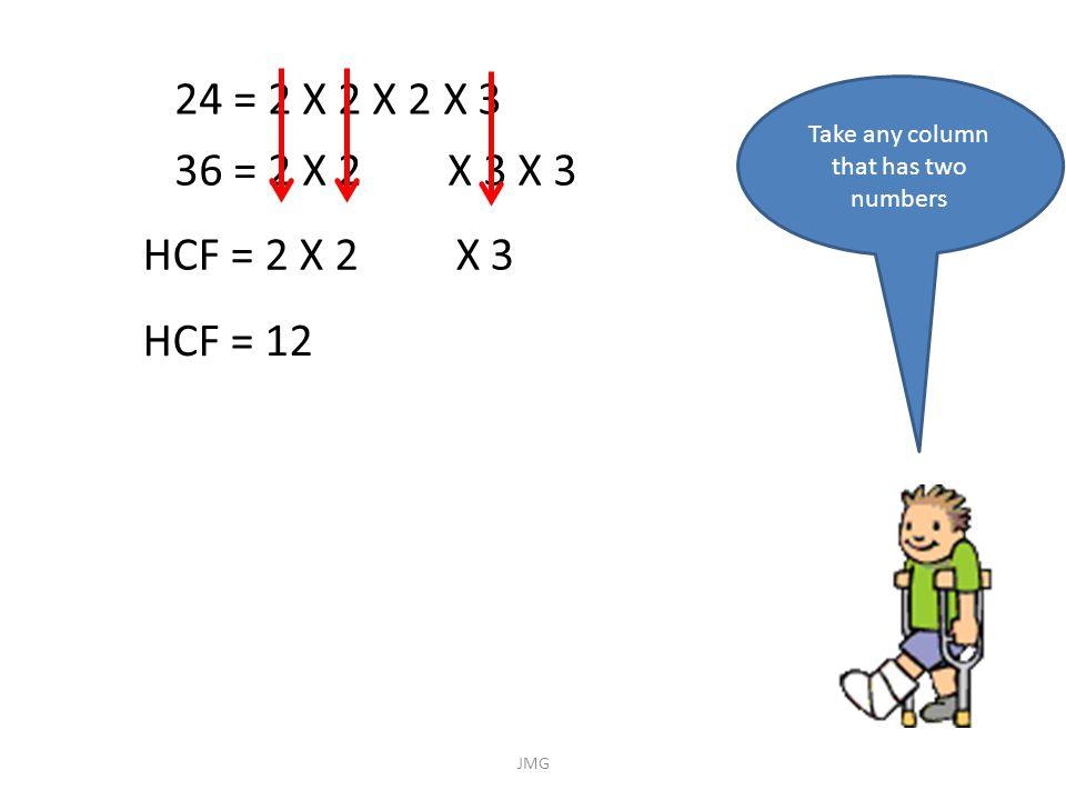 24 = 2 X 2 X 2 X 3 36 = 2 X 2 X 3 X 3 Take any column that has two numbers HCF = 2 X 2 X 3 HCF = 12 JMG