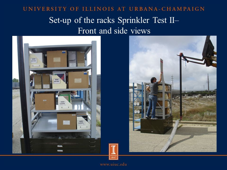 Set-up of the racks Sprinkler Test II– Front and side views