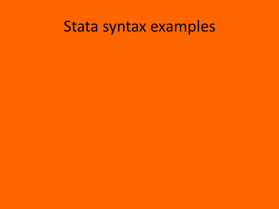 Stata syntax examples