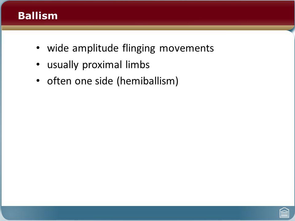 Ballism wide amplitude flinging movements usually proximal limbs often one side (hemiballism)