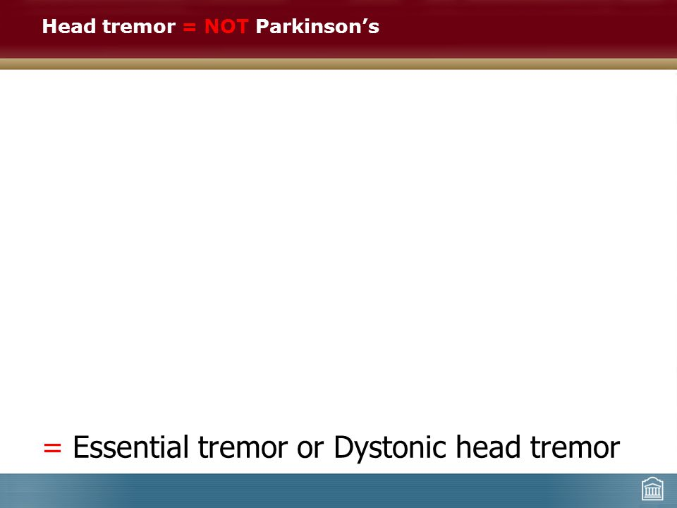Head tremor = NOT Parkinson's = Essential tremor or Dystonic head tremor