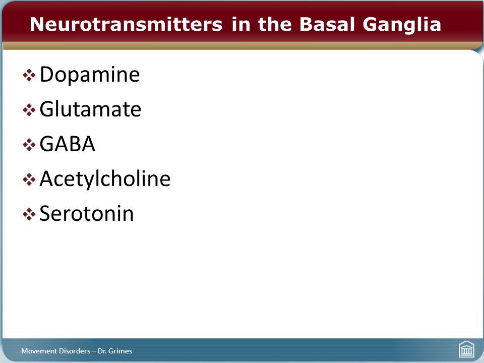  Dopamine  Glutamate  GABA  Acetylcholine  Serotonin Neurotransmitters in the Basal Ganglia Movement Disorders – Dr. Grimes