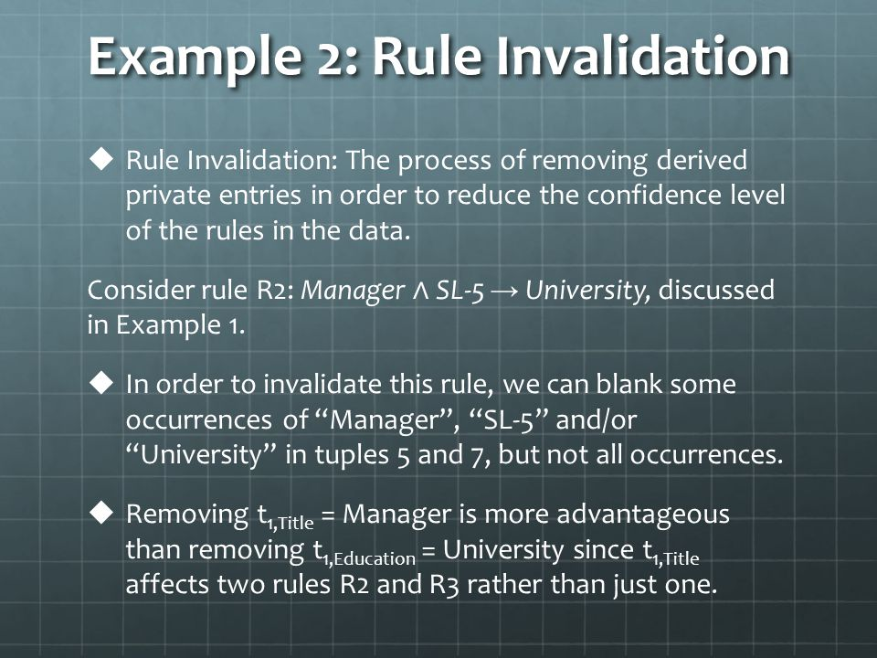 Example 2: Rule Invalidation   Rule Invalidation: The process of removing derived private entries in order to reduce the confidence level of the rules in the data.