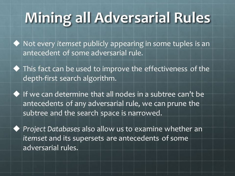 Mining all Adversarial Rules   Not every itemset publicly appearing in some tuples is an antecedent of some adversarial rule.