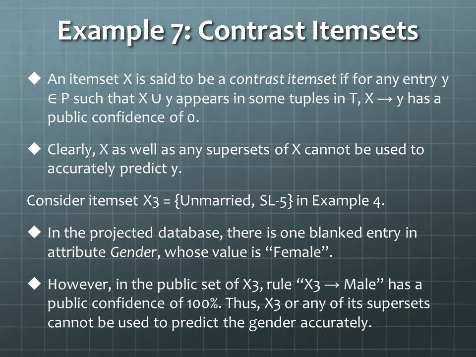 Example 7: Contrast Itemsets   An itemset X is said to be a contrast itemset if for any entry y ∈ P such that X ∪ y appears in some tuples in T, X → y has a public confidence of 0.