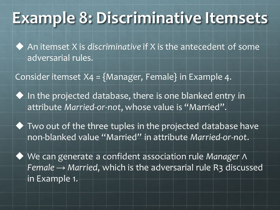 Example 8: Discriminative Itemsets   An itemset X is discriminative if X is the antecedent of some adversarial rules.