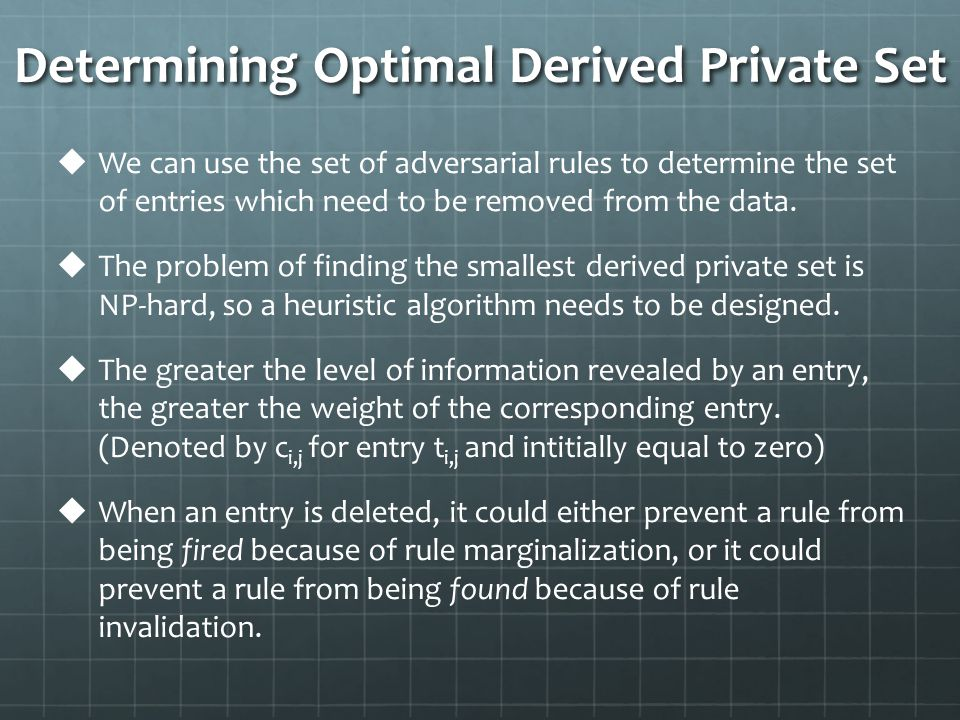 Determining Optimal Derived Private Set   We can use the set of adversarial rules to determine the set of entries which need to be removed from the data.