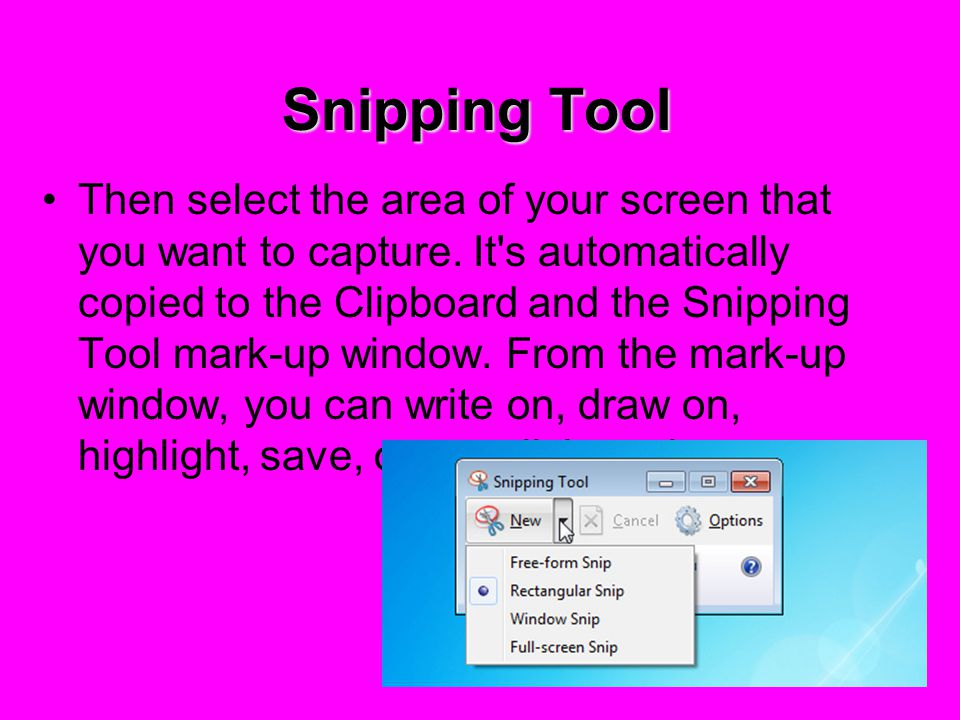 Snipping Tool Snipping Tool captures a screen shot of any object on your screen, like a paragraph in a document, a picture you're editing, or a section of a Web page Click the Start button and go to Accessories folder in the program list.