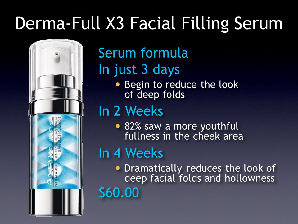 Derma-Full X3 Facial Filling Serum Serum formula In just 3 days Begin to reduce the look of deep folds In 2 Weeks 82% saw a more youthful fullness in the cheek area In 4 Weeks Dramatically reduces the look of deep facial folds and hollowness $60.00 Serum formula In just 3 days Begin to reduce the look of deep folds In 2 Weeks 82% saw a more youthful fullness in the cheek area In 4 Weeks Dramatically reduces the look of deep facial folds and hollowness $60.00