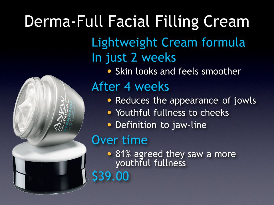 Derma-Full Facial Filling Cream Lightweight Cream formula In just 2 weeks Skin looks and feels smoother After 4 weeks Reduces the appearance of jowls Youthful fullness to cheeks Definition to jaw-line Over time 81% agreed they saw a more youthful fullness $39.00 Lightweight Cream formula In just 2 weeks Skin looks and feels smoother After 4 weeks Reduces the appearance of jowls Youthful fullness to cheeks Definition to jaw-line Over time 81% agreed they saw a more youthful fullness $39.00