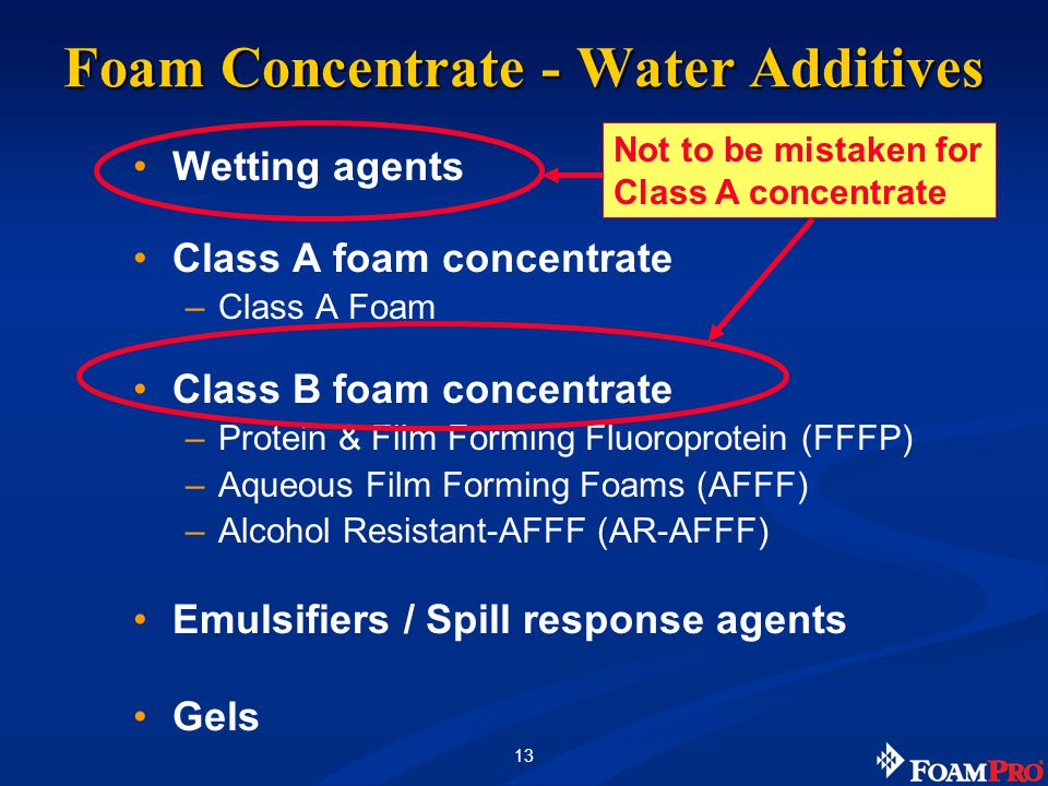 13 Foam Concentrate - Water Additives Wetting agents Class A foam concentrate –Class A Foam Class B foam concentrate –Protein & Film Forming Fluoroprotein (FFFP) –Aqueous Film Forming Foams (AFFF) –Alcohol Resistant-AFFF (AR-AFFF) Emulsifiers / Spill response agents Gels Not to be mistaken for Class A concentrate