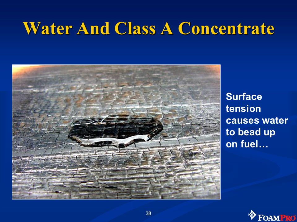 38 Surface tension causes water to bead up on fuel… Water And Class A Concentrate