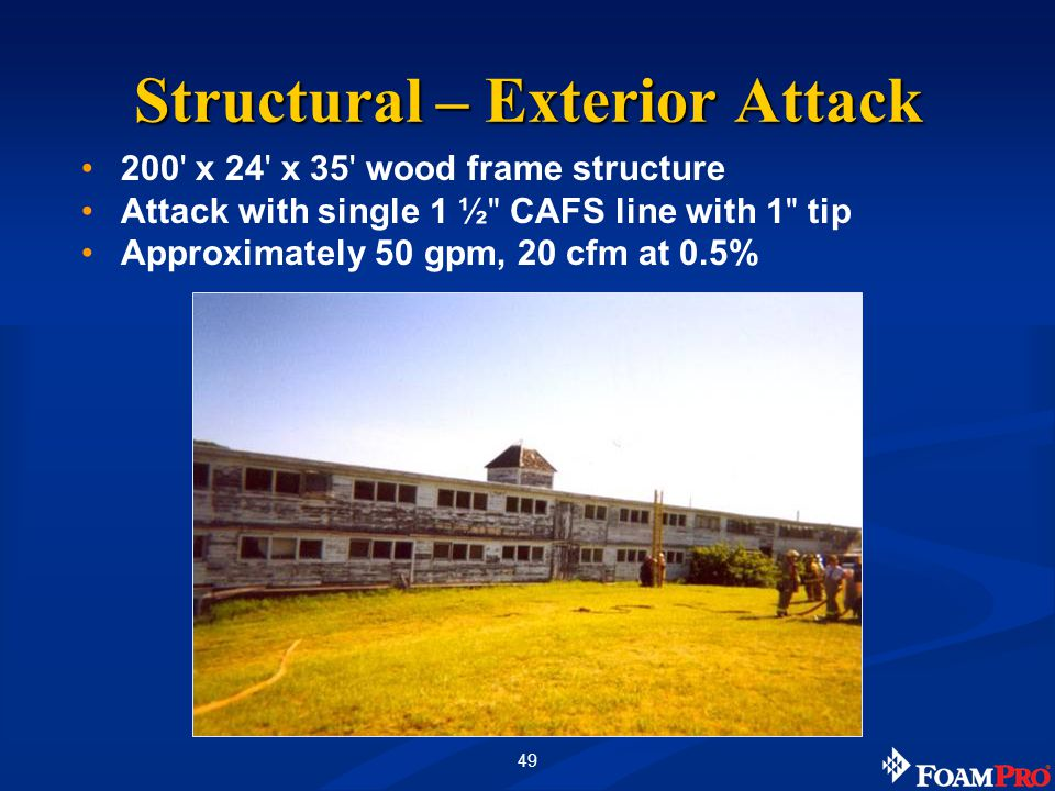 49 200 x 24 x 35 wood frame structure Attack with single 1 ½ CAFS line with 1 tip Approximately 50 gpm, 20 cfm at 0.5% Structural – Exterior Attack
