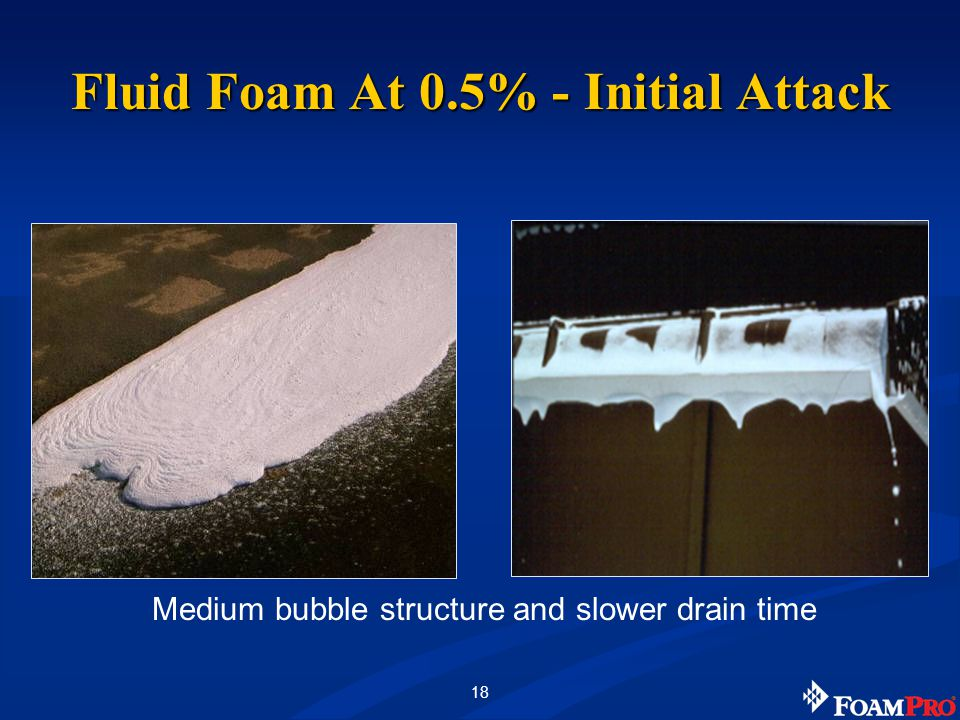 18 Medium bubble structure and slower drain time Fluid Foam At 0.5% - Initial Attack