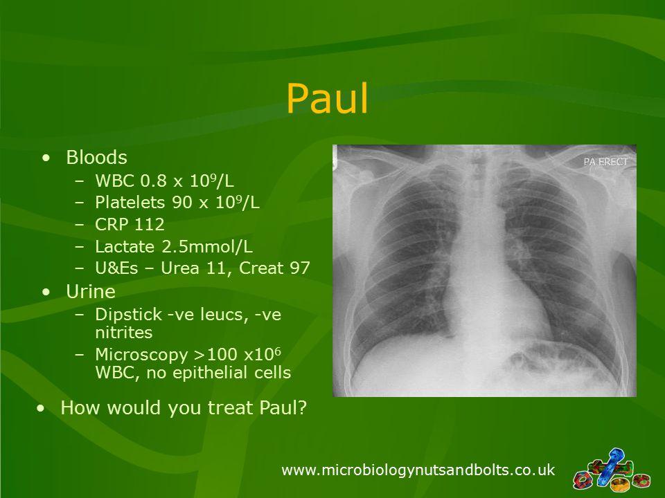www.microbiologynutsandbolts.co.uk Bloods –WBC 0.8 x 10 9 /L –Platelets 90 x 10 9 /L –CRP 112 –Lactate 2.5mmol/L –U&Es – Urea 11, Creat 97 Urine –Dips