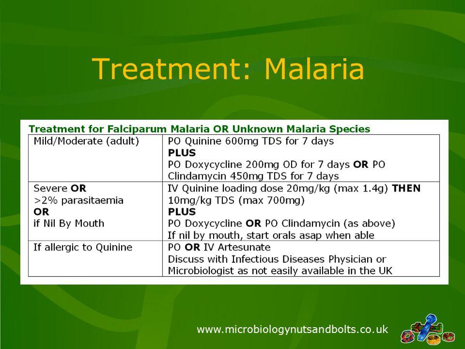 www.microbiologynutsandbolts.co.uk Treatment: Malaria