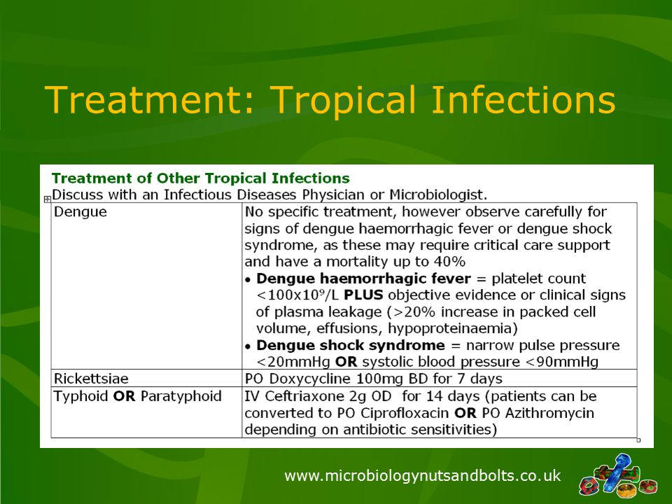 www.microbiologynutsandbolts.co.uk Treatment: Tropical Infections