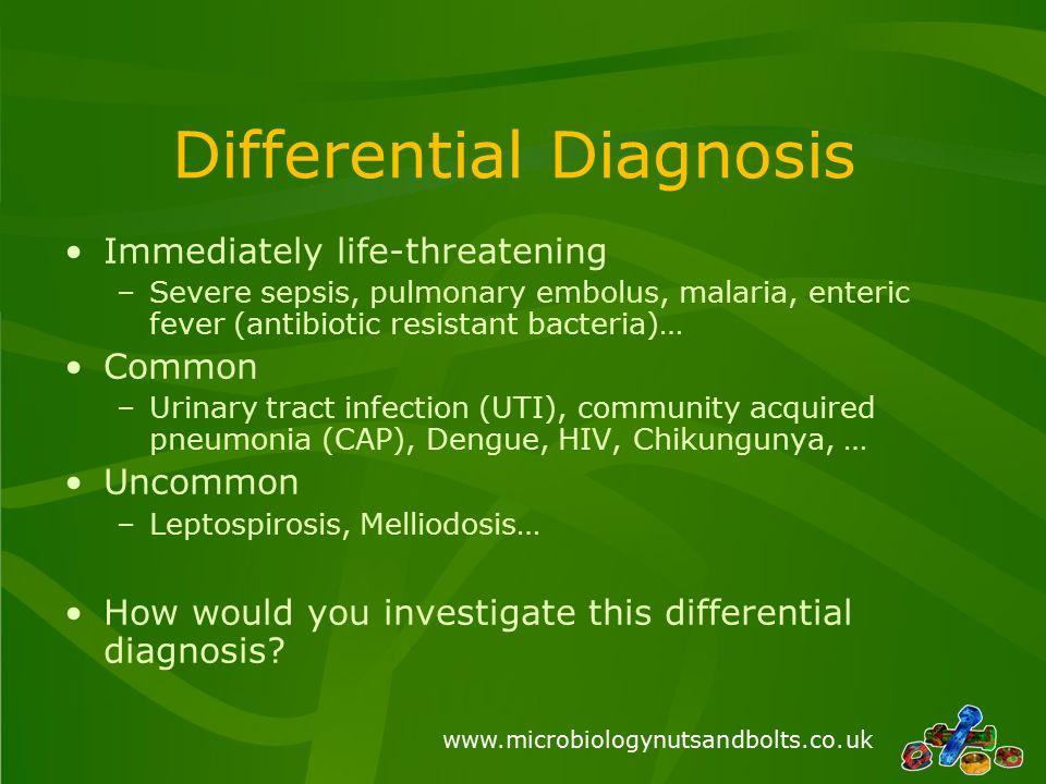 Differential Diagnosis Immediately life-threatening –Severe sepsis, pulmonary embolus, malaria, enteric fever (antibiotic resistant bacteria)… Common