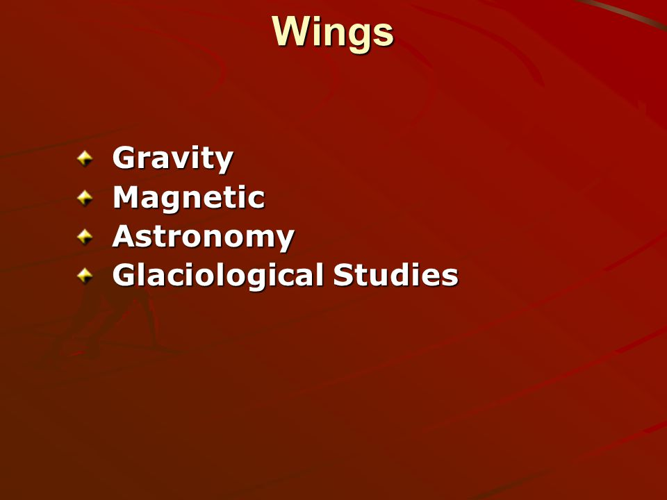 WingsGravityMagneticAstronomy Glaciological Studies