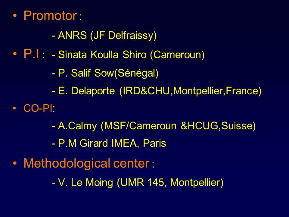 Promotor : - ANRS (JF Delfraissy) P.I : - Sinata Koulla Shiro (Cameroun) - P.