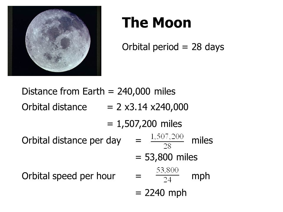 The Moon Distance from Earth = 240,000 miles Orbital distance = 2 x3.14 x240,000 = 1,507,200 miles Orbital period = 28 days Orbital distance per day= miles = 53,800 miles Orbital speed per hour= mph = 2240 mph