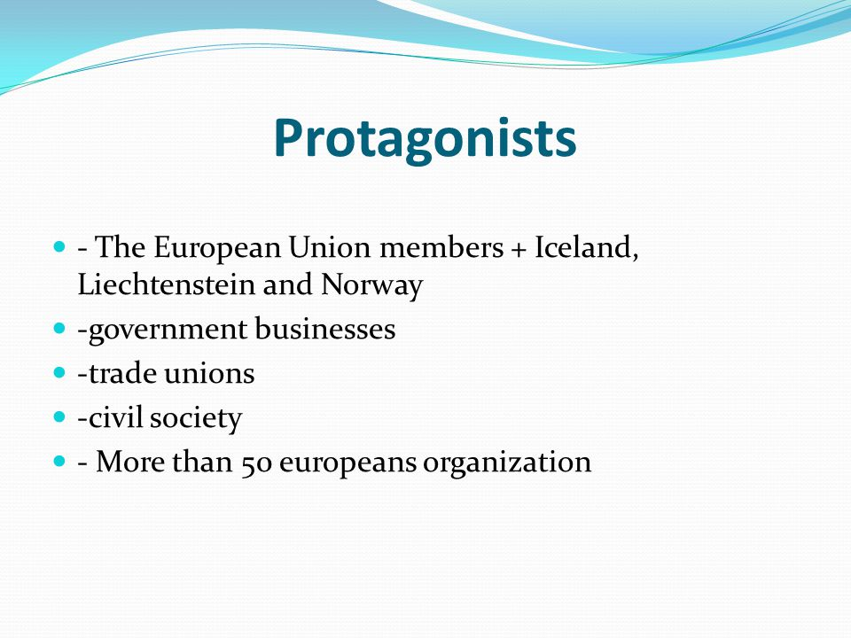 Protagonists - The European Union members + Iceland, Liechtenstein and Norway -government businesses -trade unions -civil society - More than 50 europeans organization