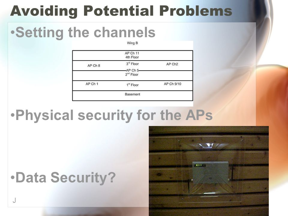 Avoiding Potential Problems Setting the channels Physical security for the APs Data Security J