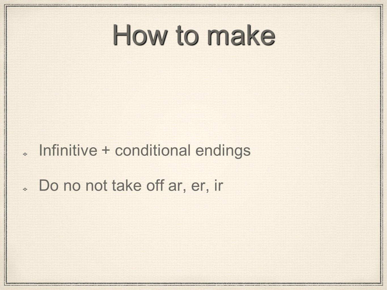 How to make Infinitive + conditional endings Do no not take off ar, er, ir
