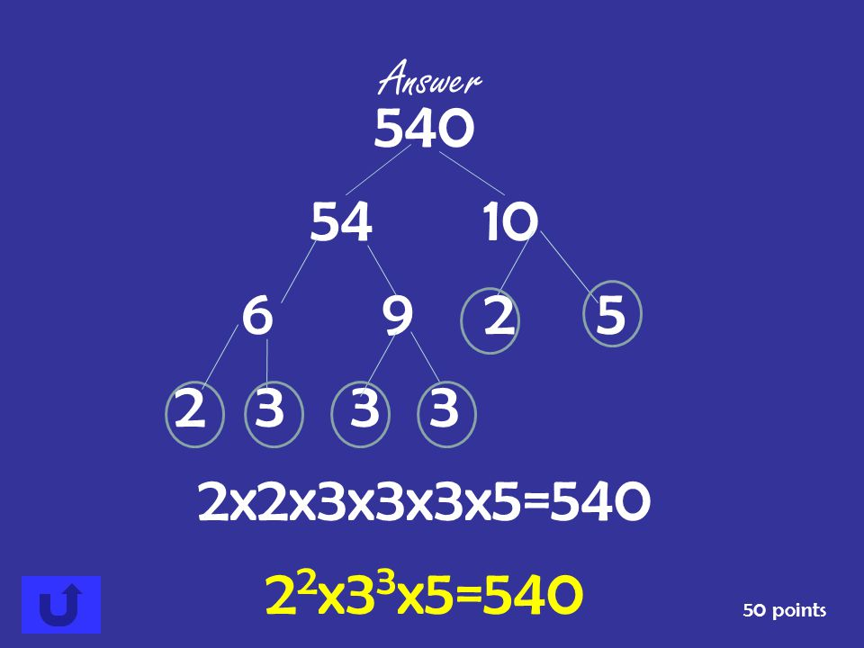 50 points Answer Find the prime factorization of 540.