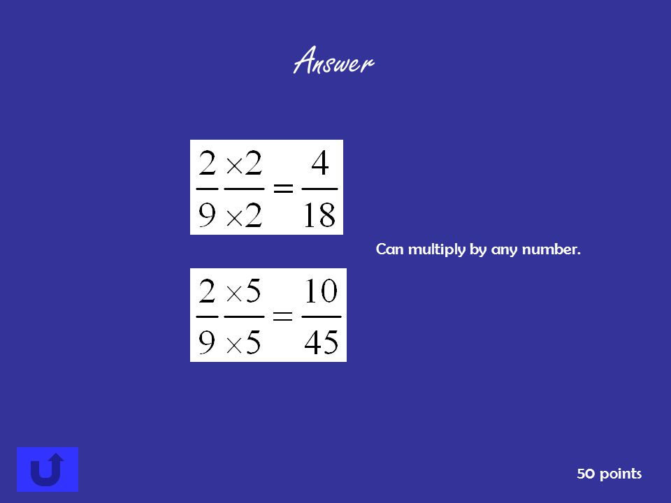 List two equivalent fractions for 50 points Answer