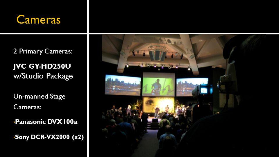 Cameras 2 Primary Cameras: JVC GY-HD250U w/Studio Package Un-manned Stage Cameras: Panasonic DVX100a Sony DCR-VX2000 (x2)