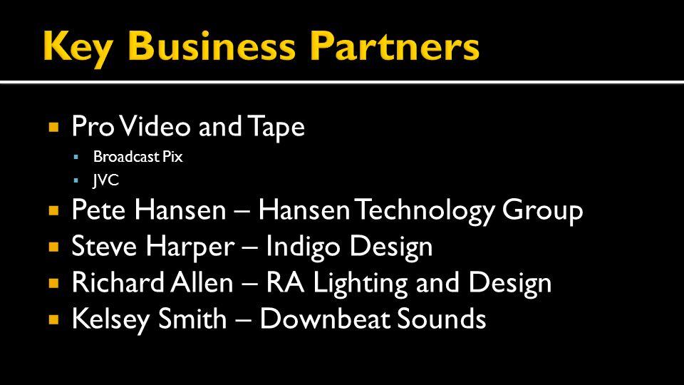  Pro Video and Tape  Broadcast Pix  JVC  Pete Hansen – Hansen Technology Group  Steve Harper – Indigo Design  Richard Allen – RA Lighting and Design  Kelsey Smith – Downbeat Sounds