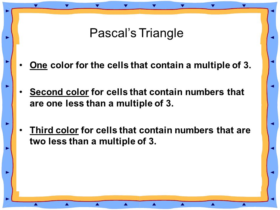 The shallow diagonals of Pascal s triangle sum to Fibonacci numbers. Pascal's Triangle