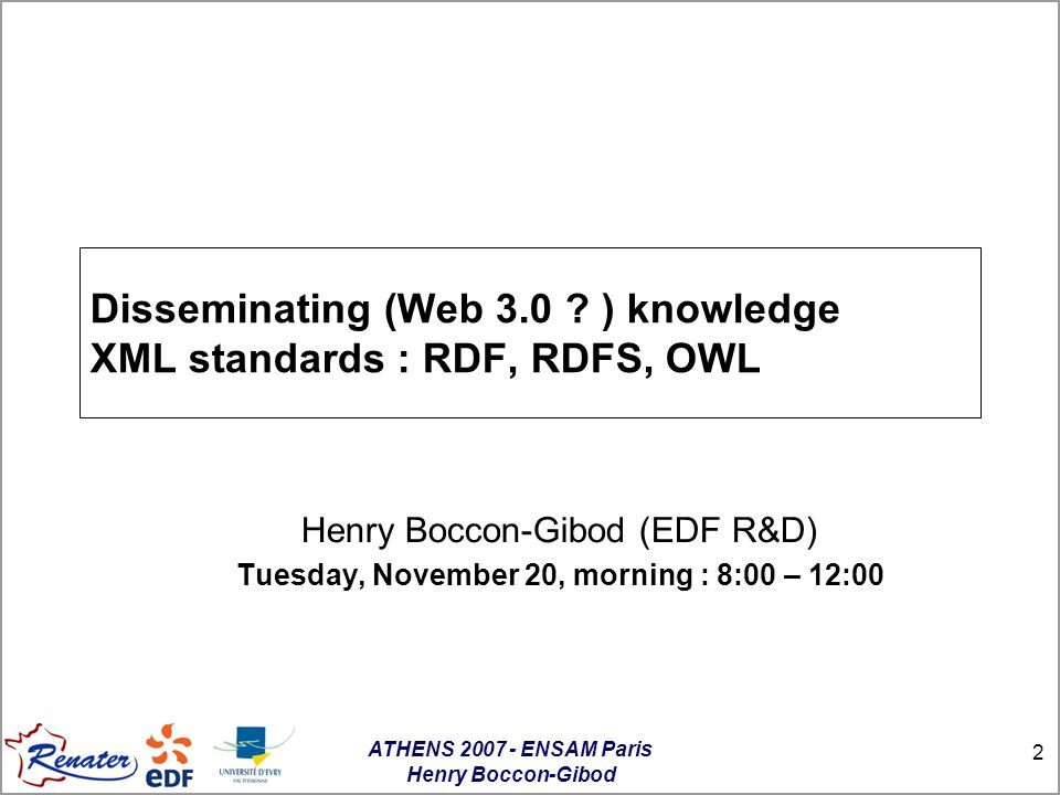 ATHENS 2007 - ENSAM Paris Henry Boccon-Gibod 23 Issues of the access to Web resources «World Wide Web was initially designed for human understanding, and while all that is published on the web is readable by a computer, these data are not understood by computers.