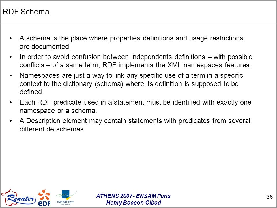 ATHENS 2007 - ENSAM Paris Henry Boccon-Gibod 36 RDF Schema A schema is the place where properties definitions and usage restrictions are documented.