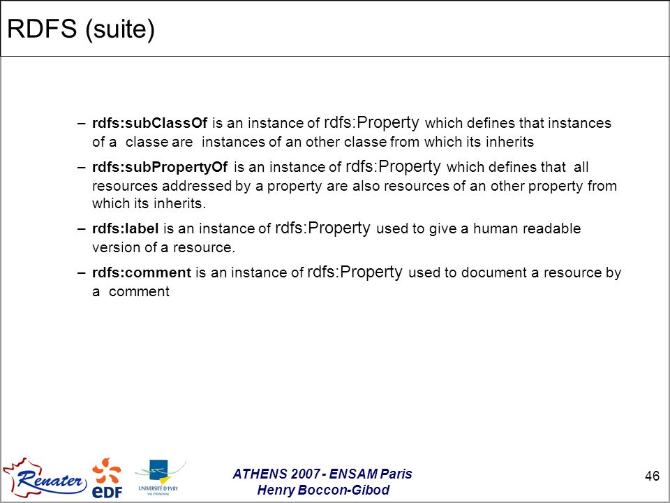 ATHENS 2007 - ENSAM Paris Henry Boccon-Gibod 46 RDFS (suite)‏ –rdfs:subClassOf is an instance of rdfs:Property which defines that instances of a classe are instances of an other classe from which its inherits –rdfs:subPropertyOf is an instance of rdfs:Property which defines that all resources addressed by a property are also resources of an other property from which its inherits.