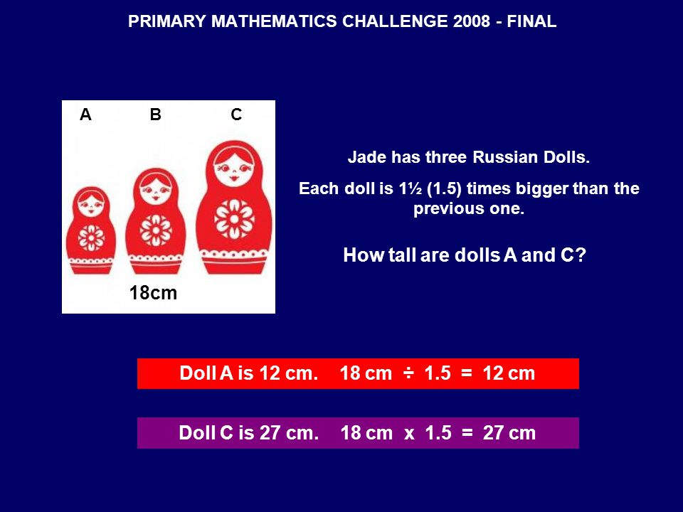 PRIMARY MATHEMATICS CHALLENGE 2008 - FINAL 18cm Jade has three Russian Dolls.