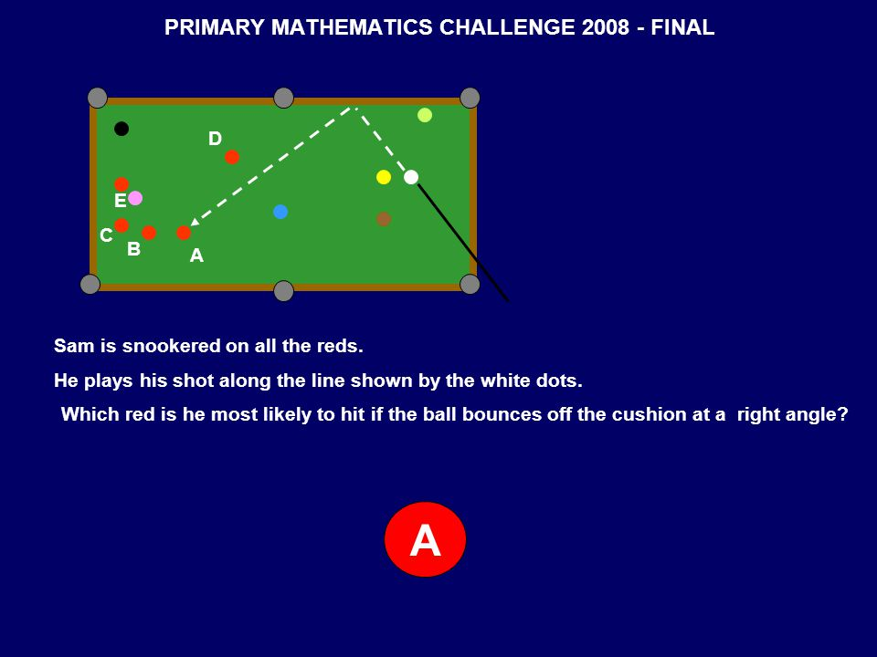 PRIMARY MATHEMATICS CHALLENGE 2008 - FINAL A B C D E Sam is snookered on all the reds. He plays his shot along the line shown by the white dots. Which