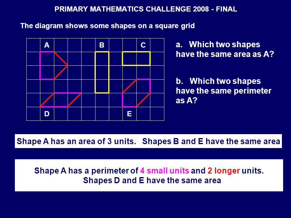 PRIMARY MATHEMATICS CHALLENGE 2008 - FINAL The diagram shows some shapes on a square grid CAB DE a. Which two shapes have the same area as A? b. Which